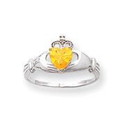 14K White Gold CZ November Birthstone Claddagh Heart Ring