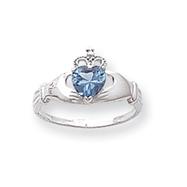14K White Gold CZ December Birthstone Claddagh Heart Ring
