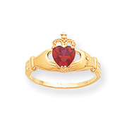 14K Gold CZ January Birthstone Claddagh Heart Ring