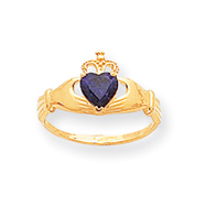 14K White Gold CZ February Birthstone Claddagh Heart Ring