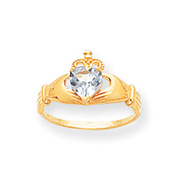 14K Gold CZ March Birthstone Claddagh Heart Ring