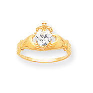 14K Gold CZ April Birthstone Claddagh Heart Ring