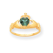 14K Gold CZ May Birthstone Claddagh Heart Ring