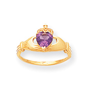 14K Gold CZ June Birthstone Claddagh Heart Ring