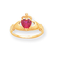 14K Gold CZ July Birthstone Claddagh Heart Ring