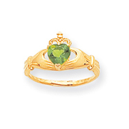 14K Gold CZ August Birthstone Claddagh Heart Ring