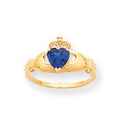 14K Gold CZ September Birthstone Claddagh Heart Ring