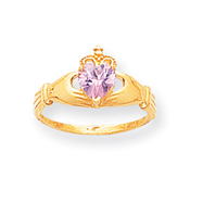 14K Gold CZ October Birthstone Claddagh Heart Ring