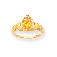 14K Gold CZ November Birthstone Claddagh Heart Ring