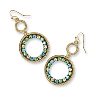 Brass-tone Blue, Green & Yellow Crystal Circle Drop Earrings