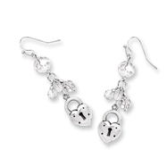 Silver-tone Heart & Lock With Clear Crystals Earrings