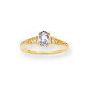 14K Gold March Birthstone Ring