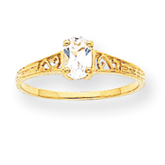 14K Gold April Birthstone Ring