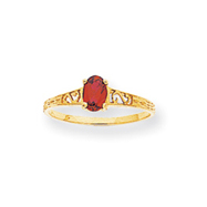 14K Gold July Birthstone Ring