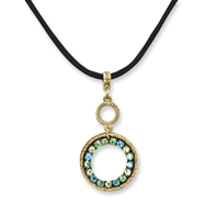 Brass-tone Blue, Green & Yellow Crystal Circle 16in With Extension Satin Cord Necklace