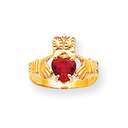 14K Gold January Birthstone Claddagh Ring