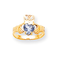 14K Gold March Birthstone Claddagh Ring