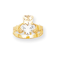 14K Gold April Birthstone Claddagh Ring