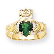 14K Gold May Birthstone Claddagh Ring