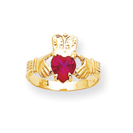 14K Gold July Birthstone Claddagh Ring