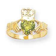 14K Gold August Birthstone Claddagh Ring