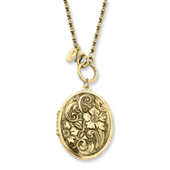 "Brass-tone Floral Locket 28"" Necklace"