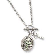 "Silver-tone Light Green Crystal Cross Locket 24"" Necklace"