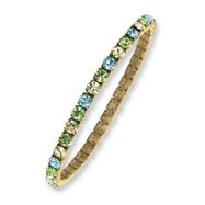 Brass-tone Blue, Green & Yellow Crystal Stretch Bracelet