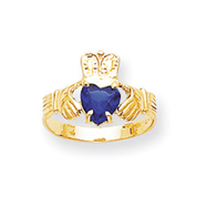 14K Gold September Birthstone Claddagh Ring