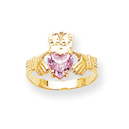 14K Gold October Birthstone Claddagh Ring