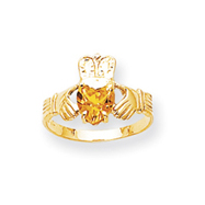 14K Gold November Birthstone Claddagh Ring