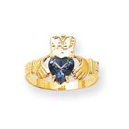 14K Gold December Birthstone Claddagh Ring