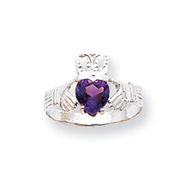 14K White Gold February Birthstone Claddagh Ring