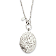 """Silver-tone Floral Locket 28"""" Necklace"""