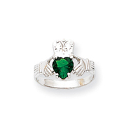 14K White Gold May Birthstone Claddagh Ring