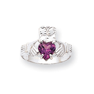 14K White Gold June Birthstone Claddagh Ring
