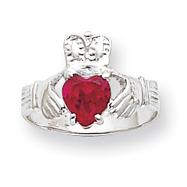 14K White Gold July Birthstone Claddagh Ring