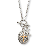 "Silver-tone Yellow Crystal Cross Locket 24"" Necklace"