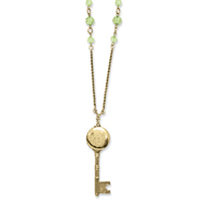 "Brass-tone Green Crystals Locket Key 22"" Necklace"