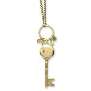 "Brass-tone Key Locket with Charms 21"" Necklace"