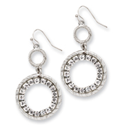 Silver-tone Clear Crystal Circle Drop Earrings