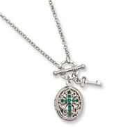 "Silver-tone Dark Green Crystal Cross Locket 24"" Necklace"