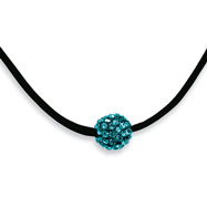 "Black-plated Teal Crystal Fireball On 16"" With Extension Satin Cord Necklace"