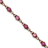 """Copper-tone Faceted Light & Dark Pink Crystal Link 15.5"""" With Extension Necklace"""