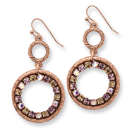 Copper-tone Purple, Pink & Yellow Crystal Circle Drop Earrings