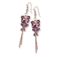 Brass-tone Purple Crystal Bead Cluster Drop Earrings