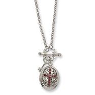 "Silver-tone Dark Red Crystal Cross Locket 24"" Necklace"