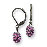 Black-plated Purple Crystal Fireball Leverback Earrings