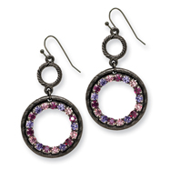 Black-plated Light & Dark Pink And Purple Crystal Circle Drop Earrings