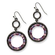Black-plated Light & Dark Pink And Purple Crystal Circle Drop Earrings